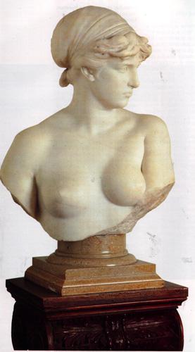 fig. 1 - Francesco Jerace - Victa - firmata sul retro - busto in marmo con colonna - 88 - 140 - Napoli collezione della Ragione